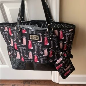 Lulu Guinness tote nwot with black patent bottom